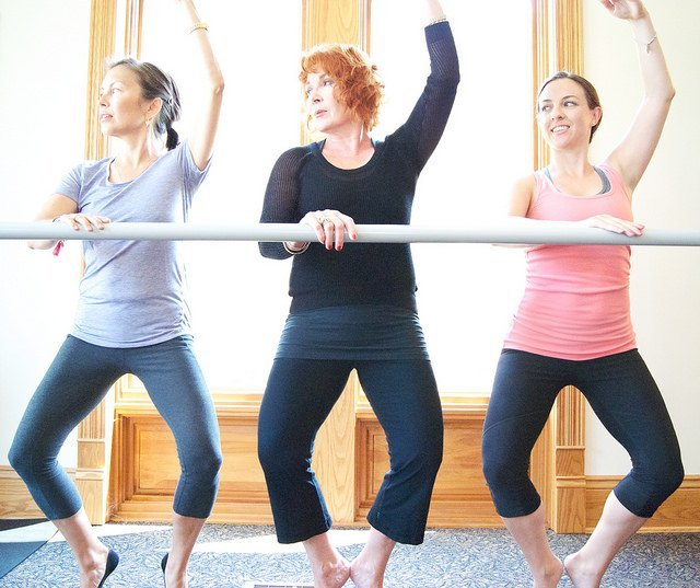 adult ballet students learning barre