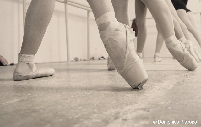 line of feet at barre with pointe shoes