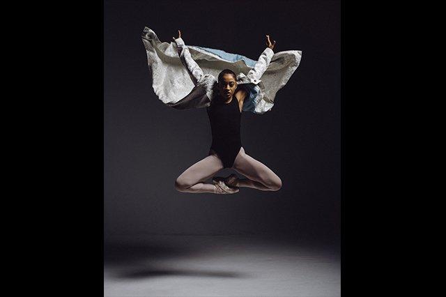 african american ballet dancer jumping