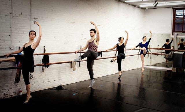 adult dancers in ballet class