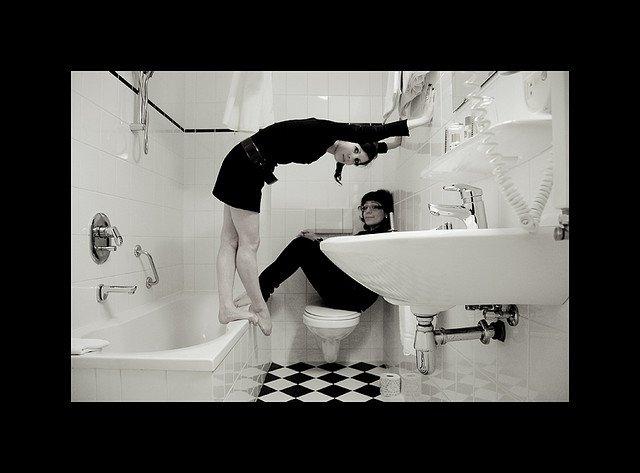 ballet dancers talking in the bathroom