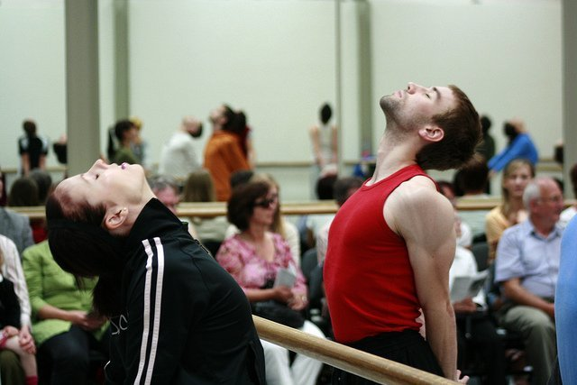 stretching in ballet class