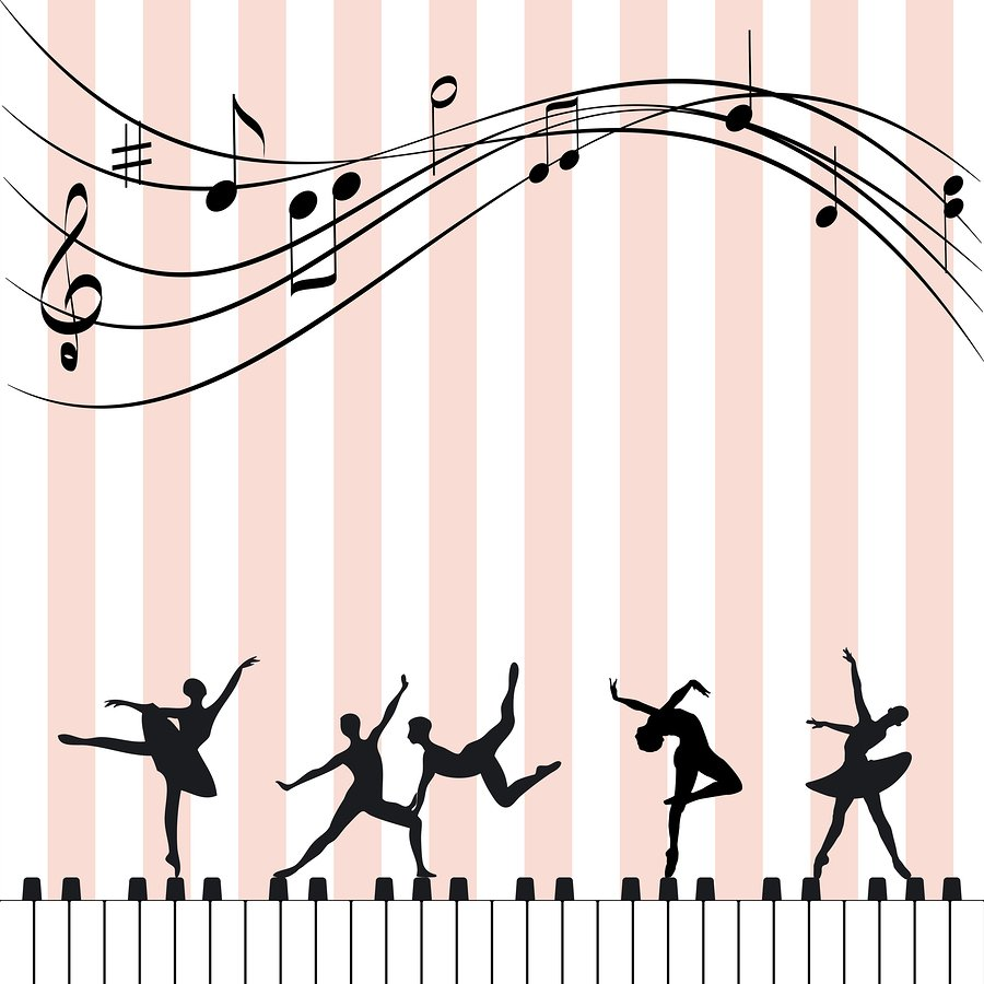 dancer silhouettes on piano graphic background