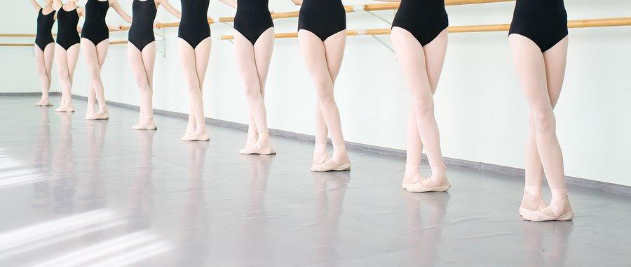 line of ballet dancers at barre