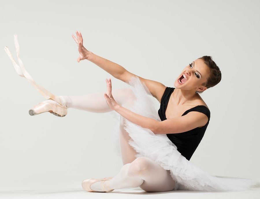 ballet dancer frustrated with pointe shoes