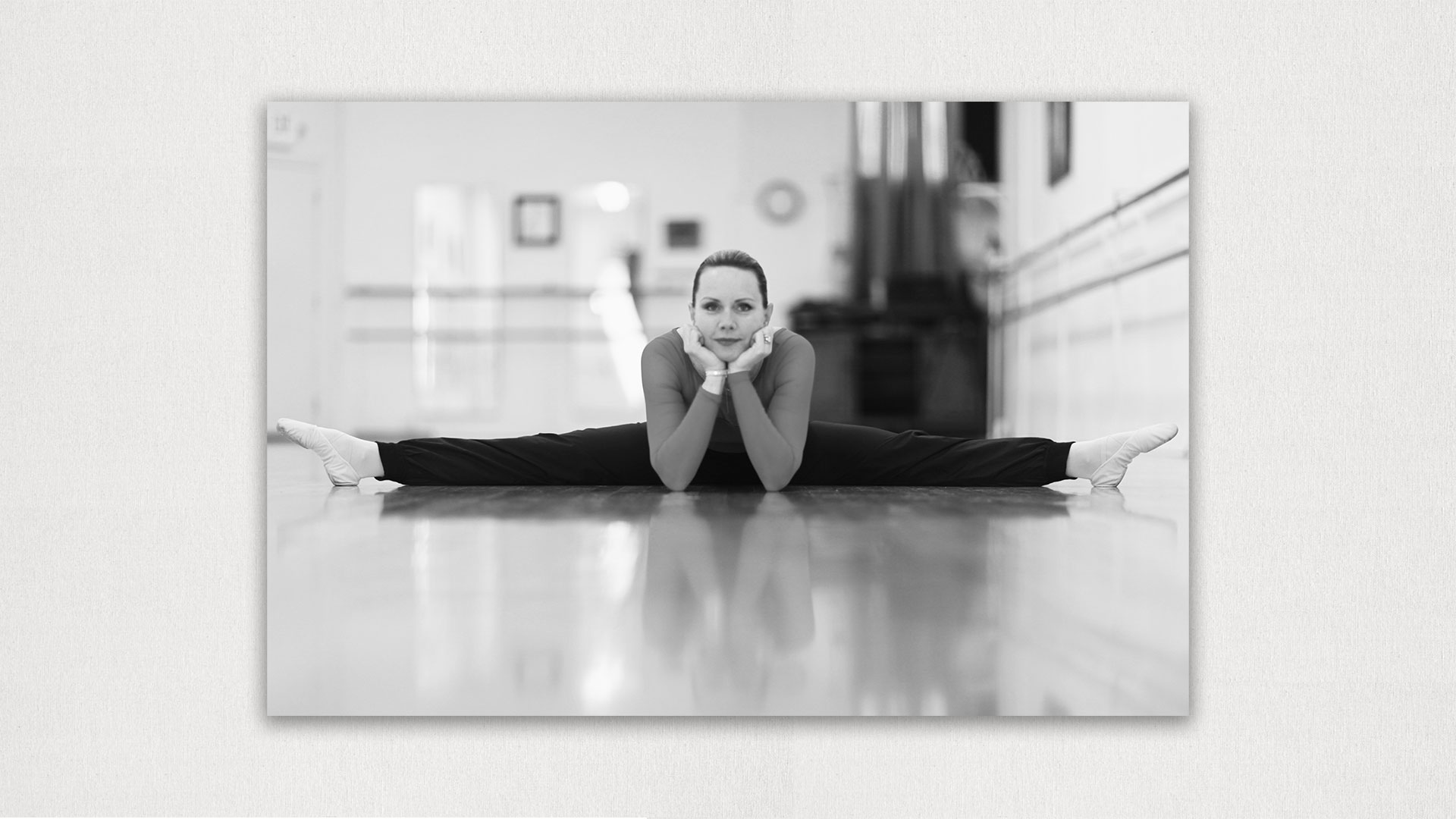 Nikki stretching ballet studio