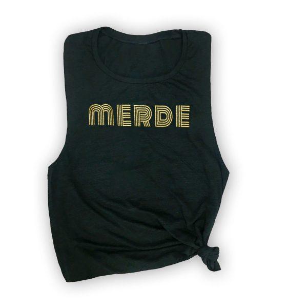 merde-muscle-tank-black-gold-text