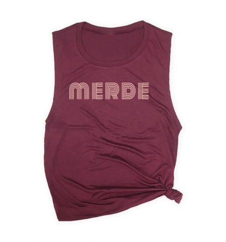 merde-muscle-tank-burgundy-ballet-pink-text