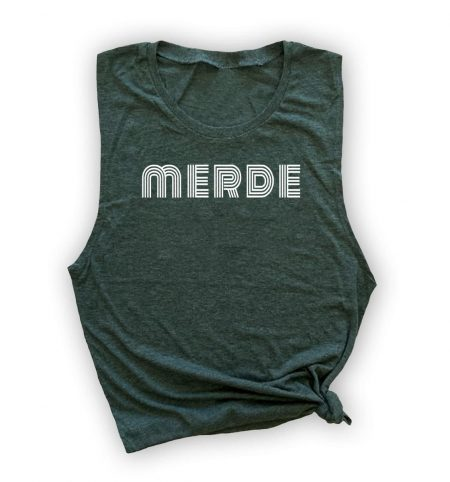 merde-muscle-tank-green-white-ink