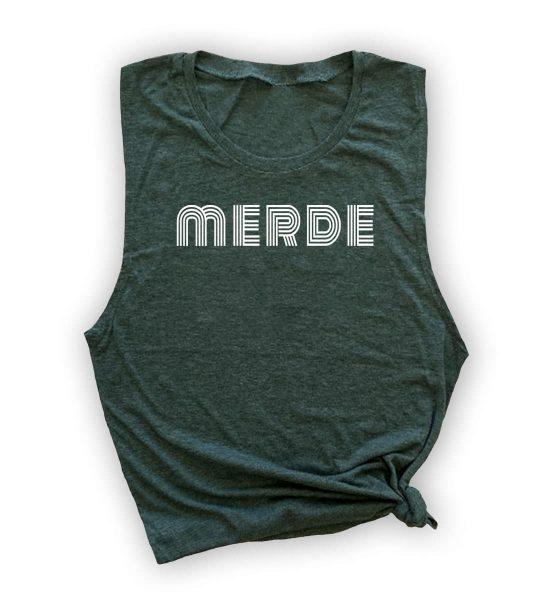 merde-muscle-tank-green-white-ink