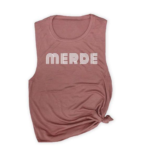 merde-muscle-tank-mauve-white-ink