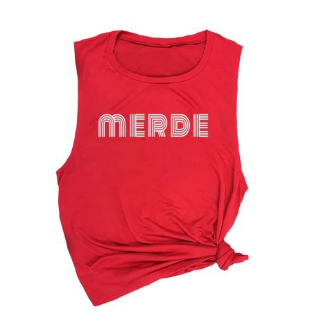 merde-muscle-tank-red-white-text