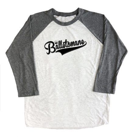 balletomane-raglan-three-quarter-sleeve-unisex-tshirt-top-grey-with-black-ink
