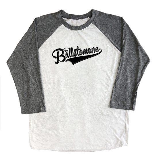 balletomane-raglan-three-quarter-sleeve-unisex-tshirt-top-grey-with-black-ink