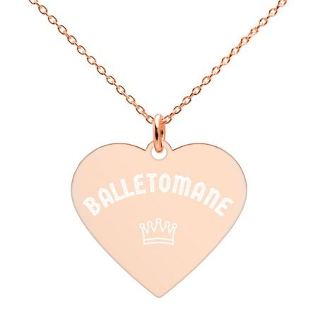 engraved heart balletomane necklace
