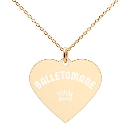 engraved heart balletomane necklace gold