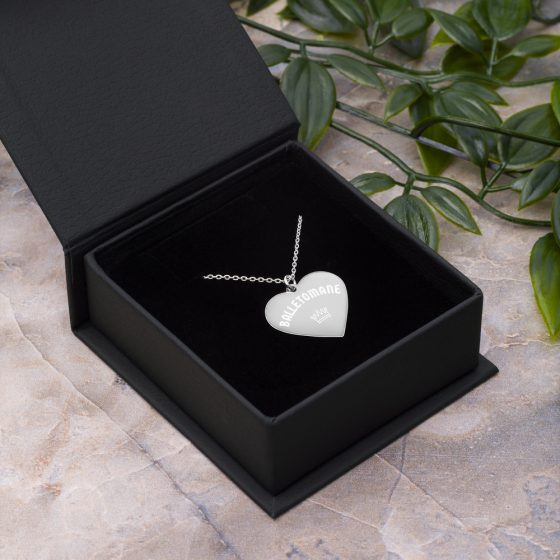 engraved heart balletomane necklace silver